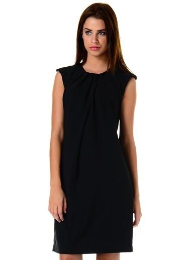Asymmetry Kolsuz Düz Elbise Siyah